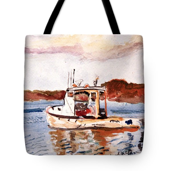 Lobster Boat Tote Bag by Michael Helfen
