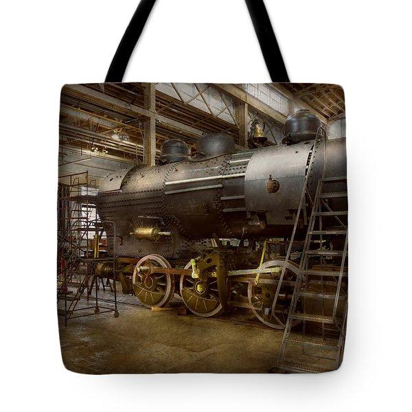Locomotive - Repairing History Tote Bag by Mike Savad