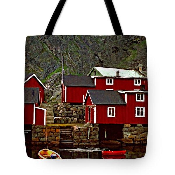 Lofoten Fishing Huts Oil Tote Bag by Steve Harrington