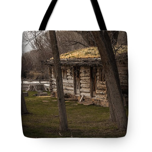 Log Cabin By The River Tote Bag by David Kehrli