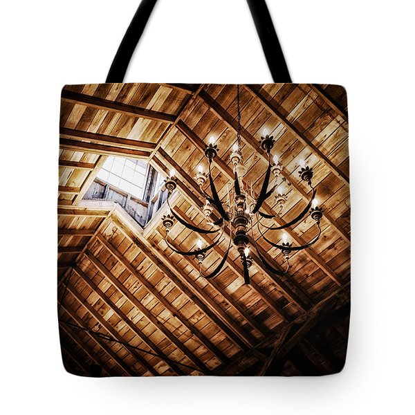 Log Cabin Chandelier  Tote Bag by Mountain Dreams
