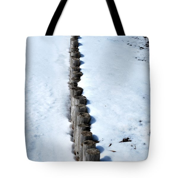 Log Fence In The Snow Tote Bag by Nancy Mueller