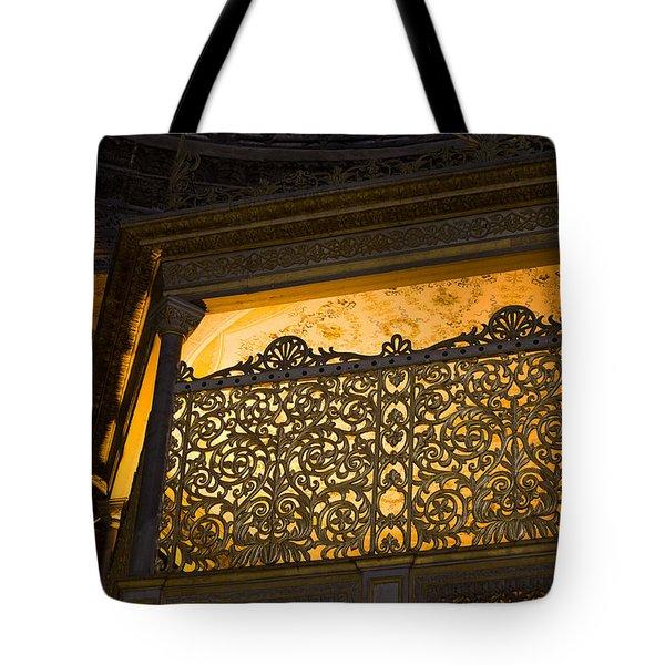 Loge Of The Sultan In Hagia Sophia Tote Bag by Artur Bogacki