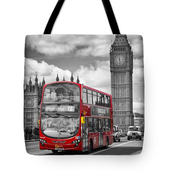 LONDON - Houses of Parliament and Red Bus Tote Bag by Melanie Viola