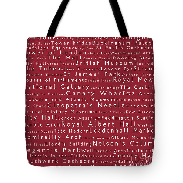 London In Words Red Tote Bag by Sabine Jacobs