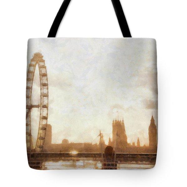 London Skyline At Dusk 01 Tote Bag by Pixel  Chimp