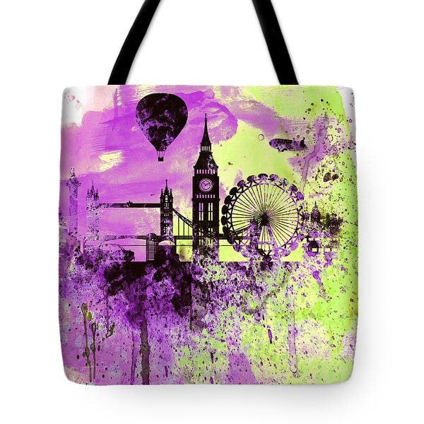 London Skyline Watercolor 1 Tote Bag by Naxart Studio