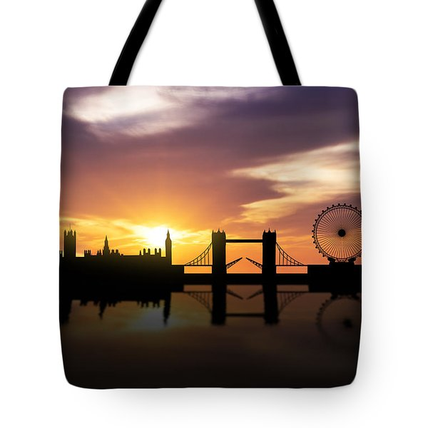 London Sunset Skyline  Tote Bag by Aged Pixel