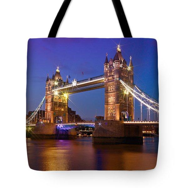 London - Tower Bridge During Blue Hour Tote Bag by Melanie Viola