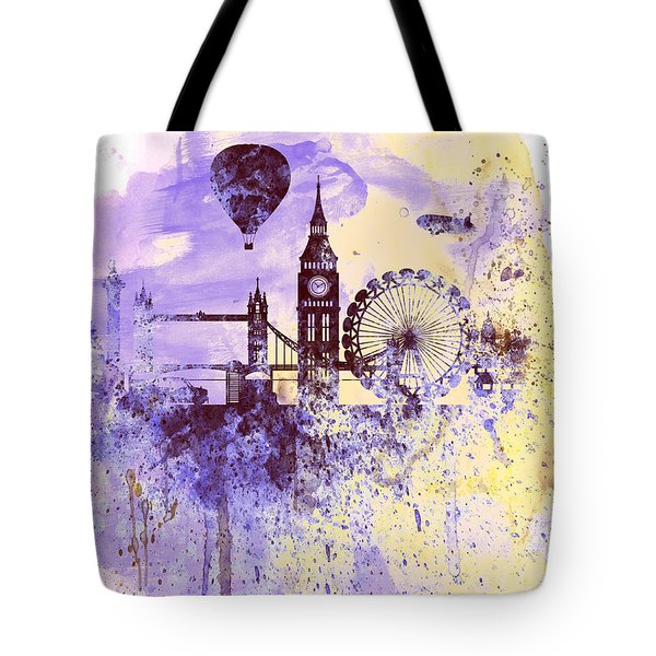 London Watercolor Skyline Tote Bag by Naxart Studio