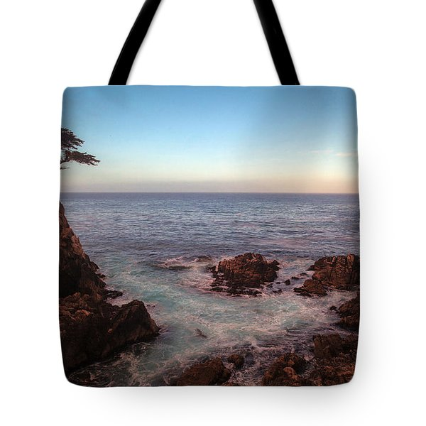 Lone Cyprus Pebble Beach Tote Bag by Mike Reid