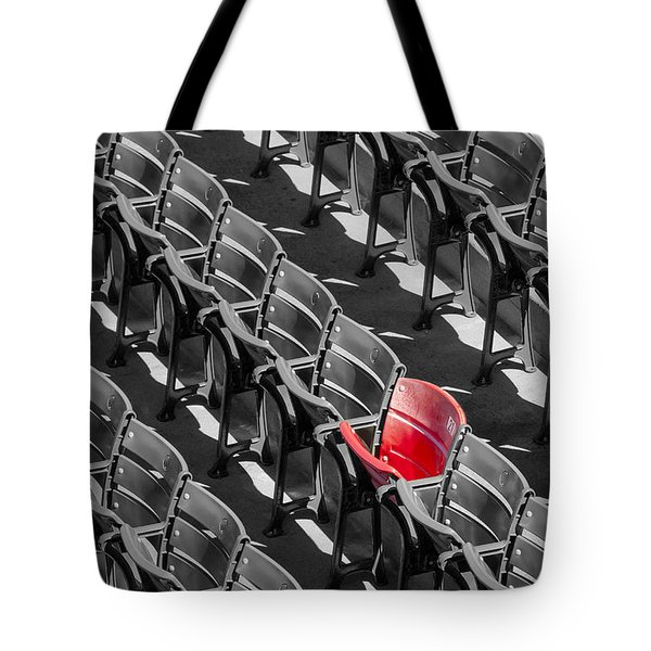 Lone Red Number 21 Fenway Park BW Tote Bag by Susan Candelario
