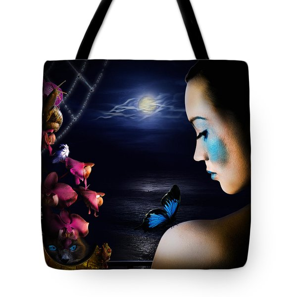 Lonely Blue Princess and the villains Tote Bag by Alessandro Della Pietra