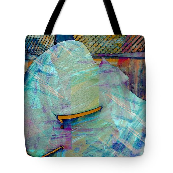 Long Time to Summer - Snow Storm - Blizzard Abstract Tote Bag by Barbara Griffin