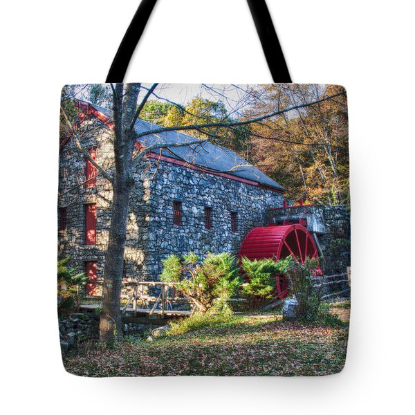 Longfellow's Wayside Inn grist mill in Autumn Tote Bag by Jeff Folger