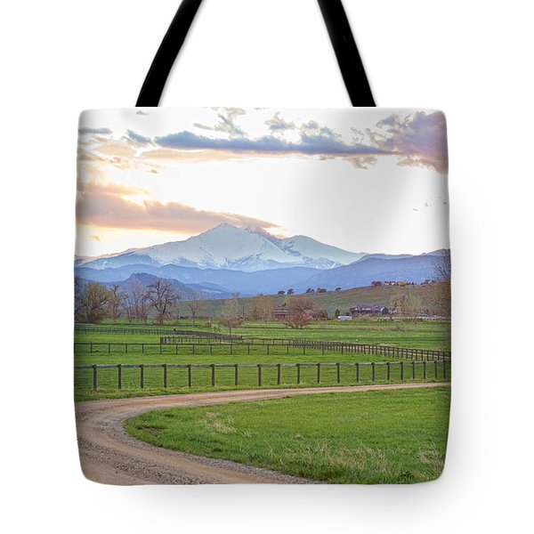 Longs Peak Springtime Sunset View  Tote Bag by James BO  Insogna