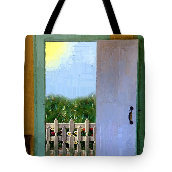 Looking Out My Back Door Tote Bag by RC DeWinter