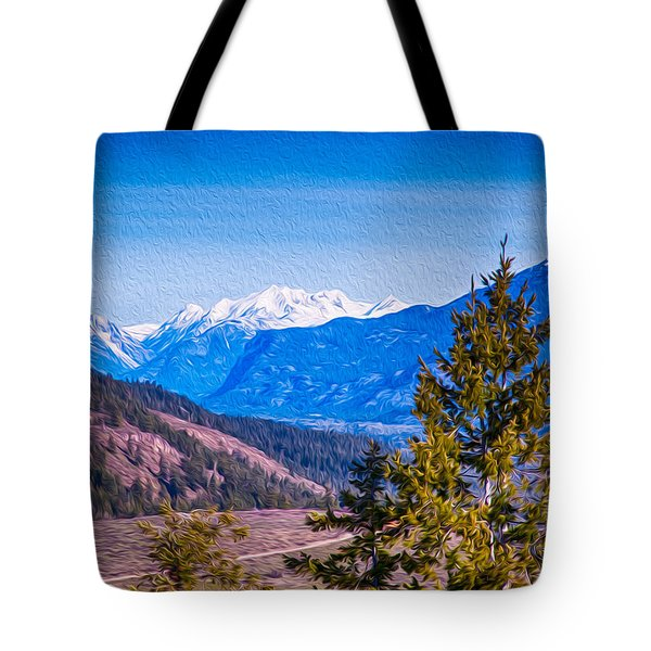 Looking To Mazama From Sun Mountain Tote Bag by Omaste Witkowski