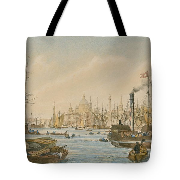 Looking Towards London Bridge Tote Bag by William Parrot