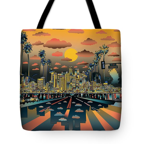 Los Angeles Skyline Abstract 2 Tote Bag by Bekim Art