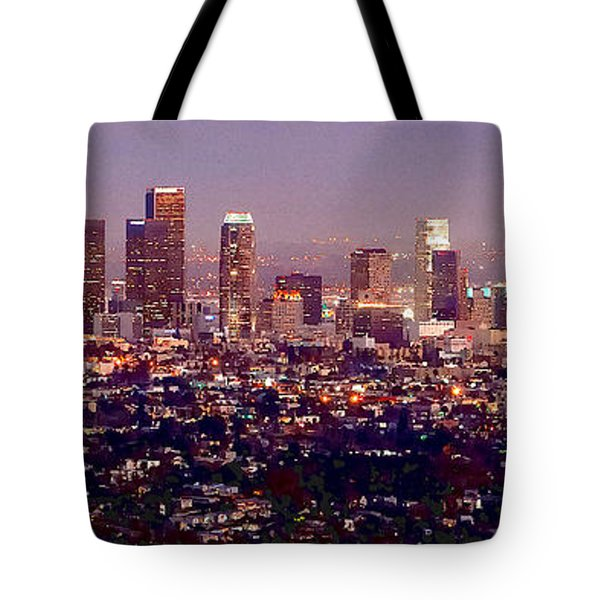 Los Angeles Skyline At Dusk Tote Bag by Jon Holiday