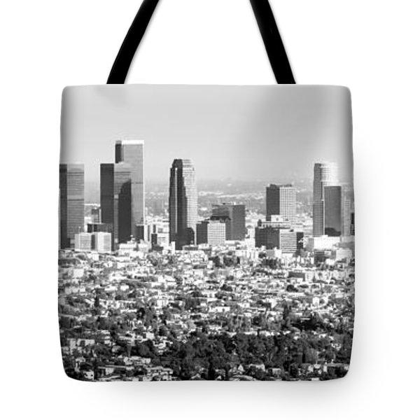 Los Angeles Skyline Panorama Photo Tote Bag by Paul Velgos