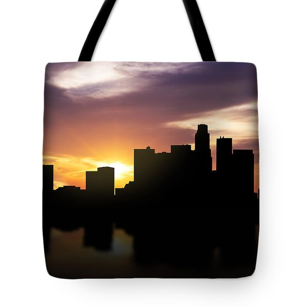 Los Angeles Sunset Skyline  Tote Bag by Aged Pixel