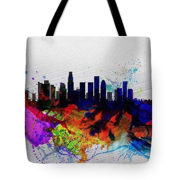 Los Angeles  Watercolor Skyline 2 Tote Bag by Naxart Studio