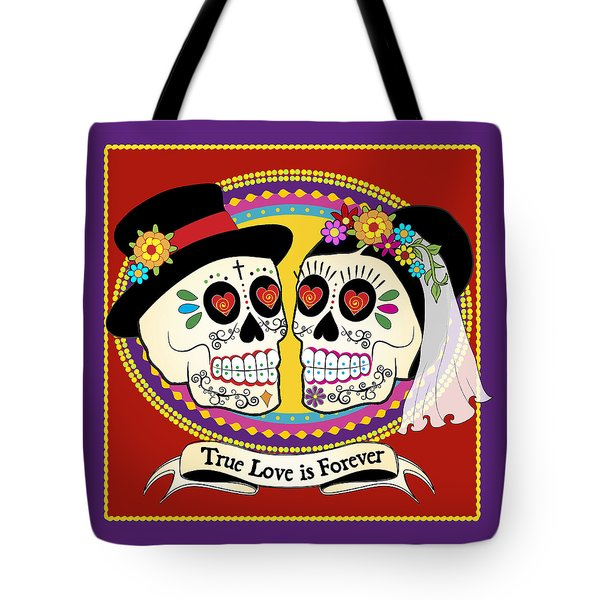 Los Novios Sugar Skulls Tote Bag by Tammy Wetzel