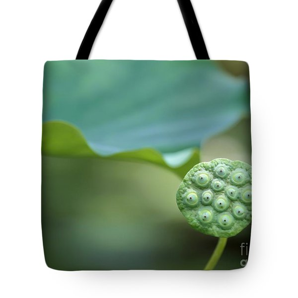 Lotus Leaf And A Seed Pod Tote Bag by Sabrina L Ryan