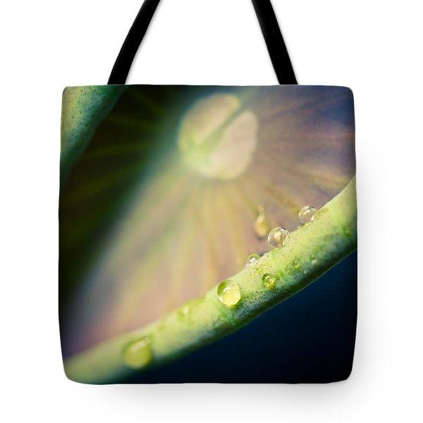 Lotus Leaf Unfurling Tote Bag by Priya Ghose