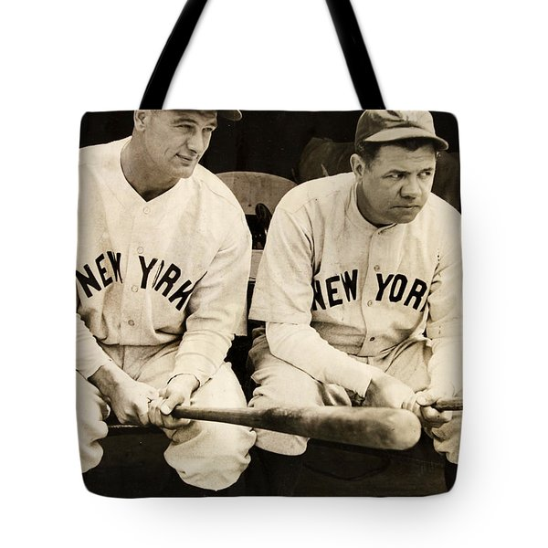 Lou Gehrig And Babe Ruth Tote Bag by Bill Cannon