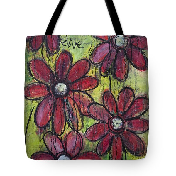 Love For Five Daisies Tote Bag by Laurie Maves ART