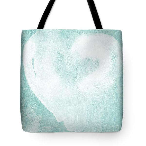 Love in Aqua Tote Bag by Linda Woods