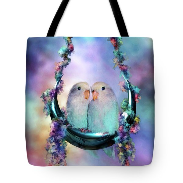 Love On A Moon Swing Tote Bag by Carol Cavalaris