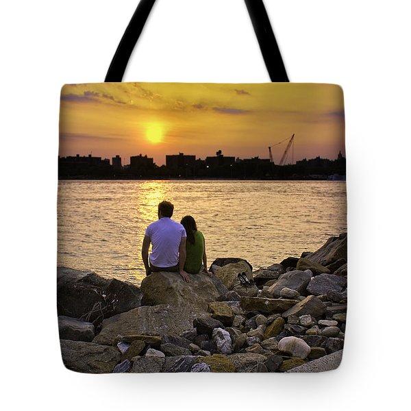 Love On The Rocks In Brooklyn Tote Bag by Madeline Ellis
