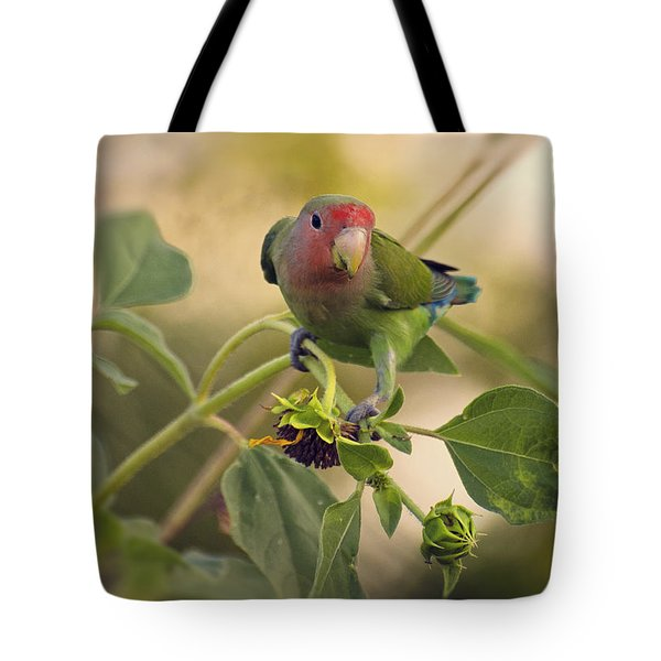 Lovebird On  Sunflower Branch  Tote Bag by Saija  Lehtonen