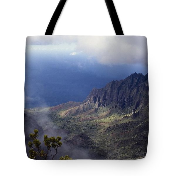 Low Clouds Over A Na Pali Coast Valley Tote Bag by Stuart Litoff