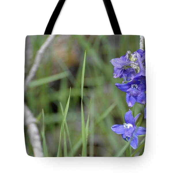 Low Larkspur In Yellowstone National Park Tote Bag by Bruce Gourley