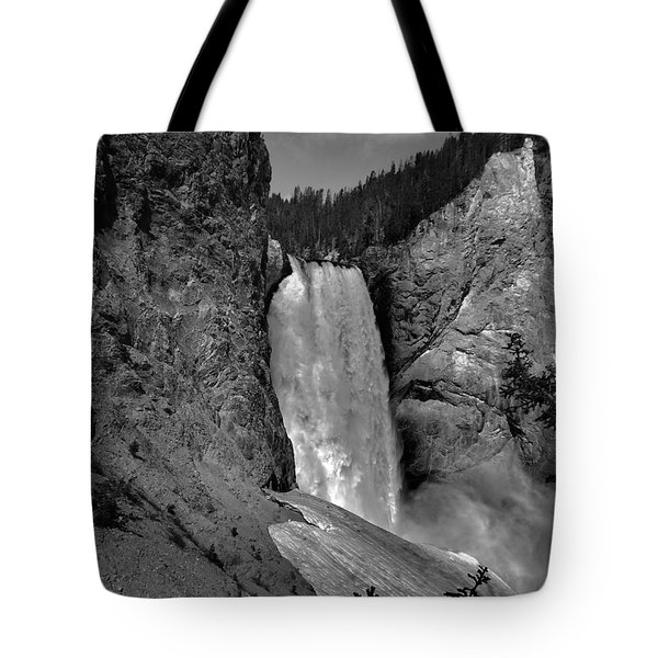Lower Falls In Yellowstone In Black And White Tote Bag by Dan Sproul
