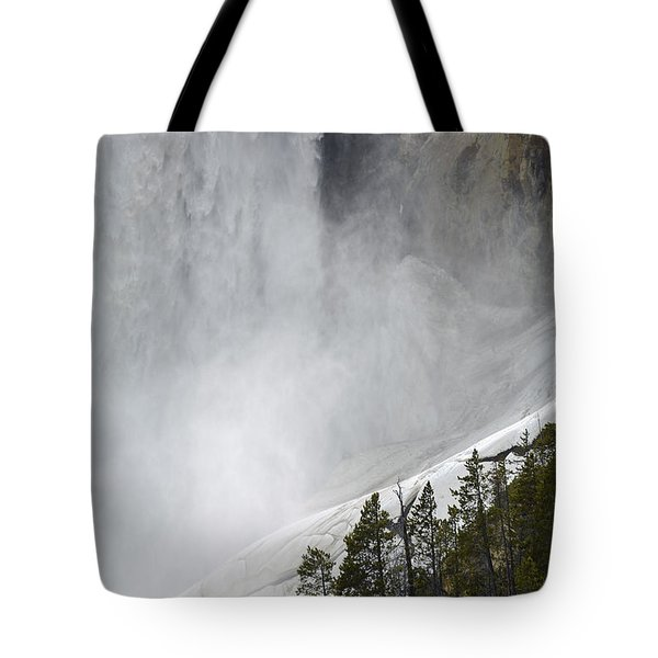 Lower Falls Of The Yellowstone Close-up In Spring Tote Bag by Bruce Gourley