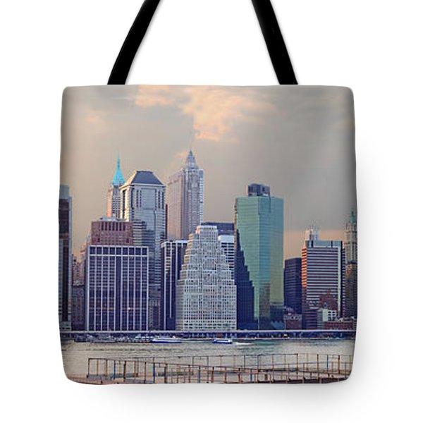 Lower Manhattan Panorama From Brooklyn Tote Bag by Thomas Marchessault