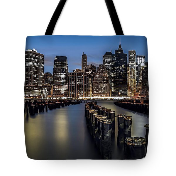 Lower Manhattan skyline Tote Bag by Eduard Moldoveanu