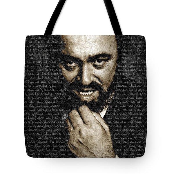 Luciano Pavarotti Tote Bag by Tony Rubino