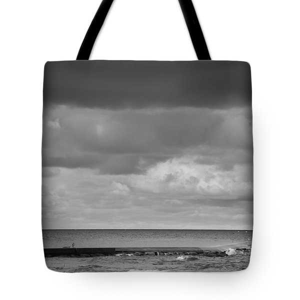 Ludington Black And White Tote Bag by Sebastian Musial