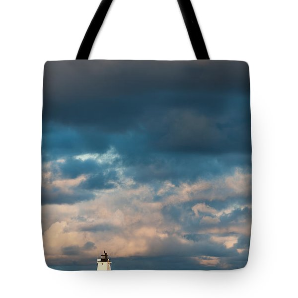 Ludington North Breakwater Lighthouse At Sunrise Tote Bag by Sebastian Musial