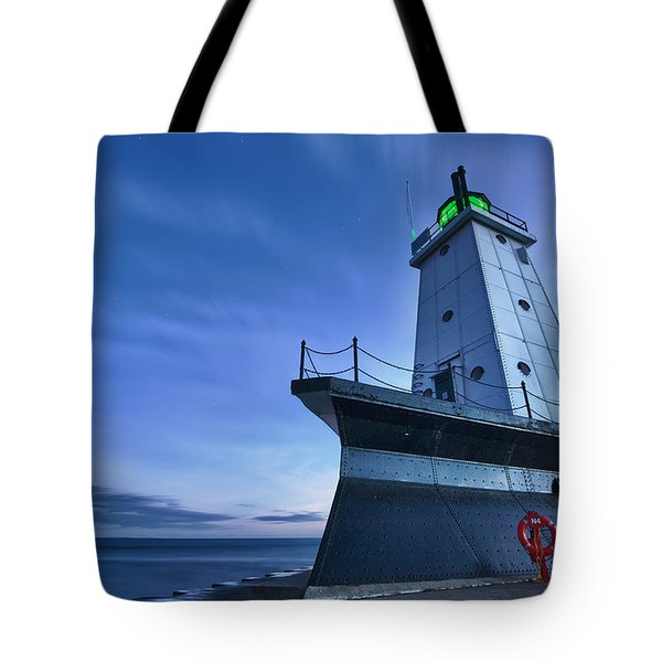 Ludington North Breakwater Lighthouse Tote Bag by Sebastian Musial