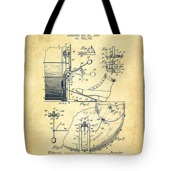 Ludwig Foot Pedal Patent Drawing From 1909 - Vintage Tote Bag by Aged Pixel