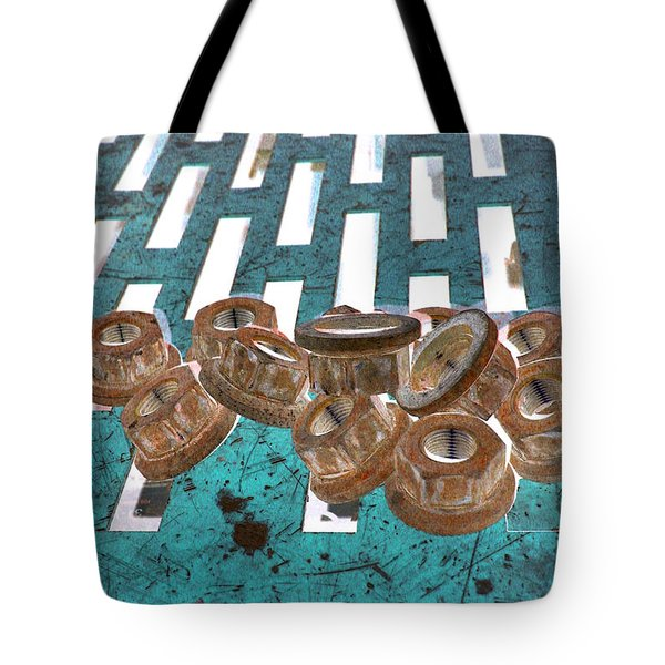 Lug Nuts On Grate Vertical Turquoise Copper Tote Bag by Heather Kirk