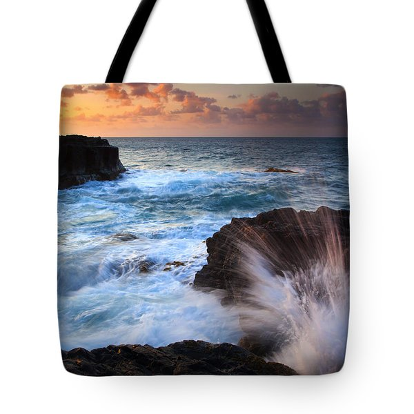 Lumahai Sea Explosion Tote Bag by Mike  Dawson